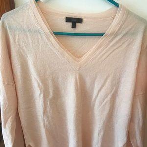 J Crew linen merino wool v neck sweater